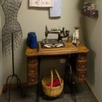 display of old singer sewing table