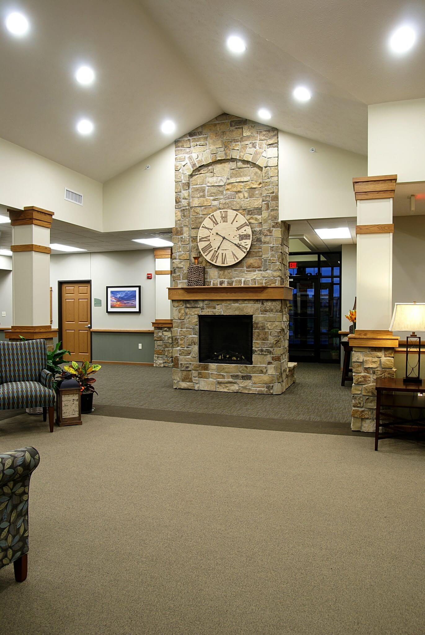 interior shot of welcome area with fireplace