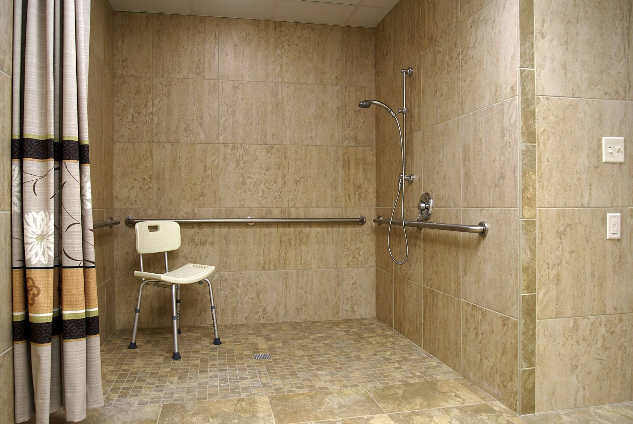 interior shot of bathroom with walk-in shower