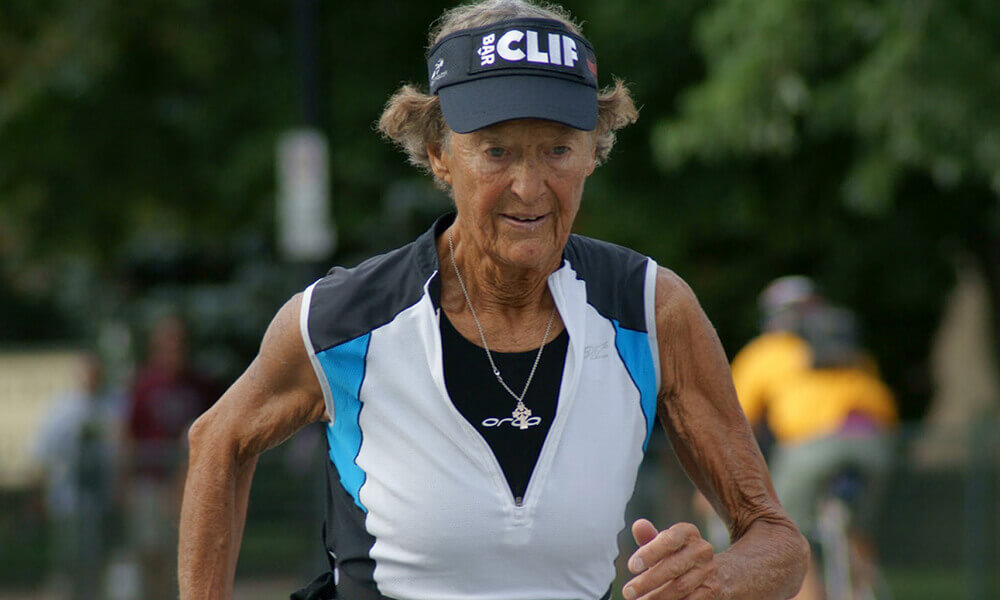 sister madonna buder running a marathon, showing she's not too old