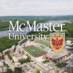 McMaster University emblem with campus in background