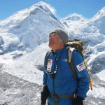 senior mountain climber on climb of everest